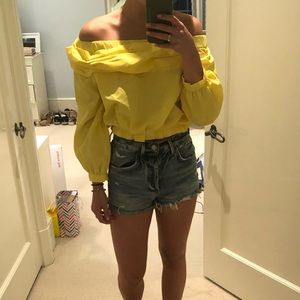 Yellow off the shoulder Zara top